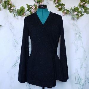 LOFT Black Wrap Cardigan Sweater